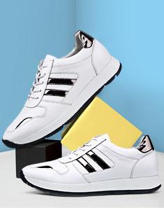 2016夏季新款白色头层牛皮革时尚休闲皮鞋 白色