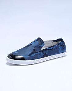 新品鞋头亮皮拼接蓝色帆布潮鞋板鞋 蓝色