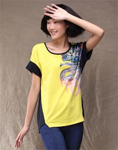 黄色潮流印花短袖T恤 黄色