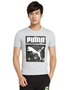 印图排汗 男款浅麻灰色短袖运动T恤