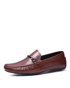 2016春季新款棕色牛皮时尚舒适皮鞋 棕色