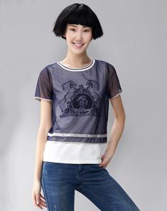 藏青修身假两件T恤