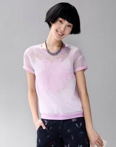 粉紫绣花拼接雪纺上衣 紫色